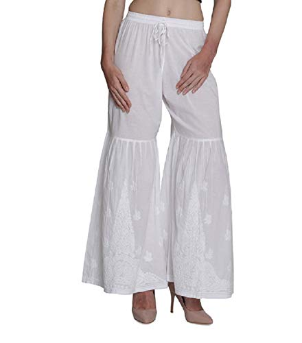 Ladies Pants Womens Palazzo TrousersWide Leg Flared Indian Hand Embroidery Chikanakari Salwar - Salwar Suit Cotton