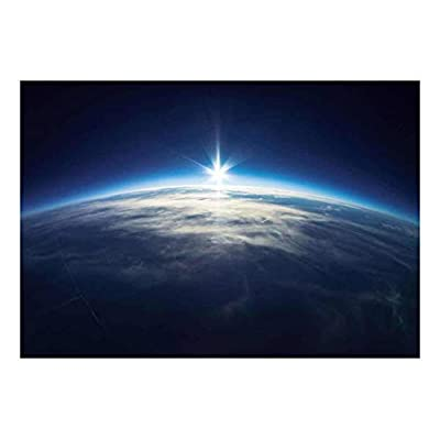 Quality Artwork, Marvelous Handicraft, Planet Earth with a Single Light Beam on The Horizon Wall Mural