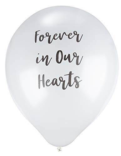 Memorial Balloons - 30-Pack White Balloons with Black