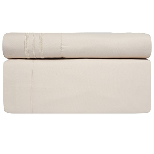 Sweet Home Collection 1800 Thread Count Bed Sheet Set Egyptian Quality Brushed Microfiber 5 Piece Deep Pocket, Split King, Beige by Sweet Home Collection (Image #1)