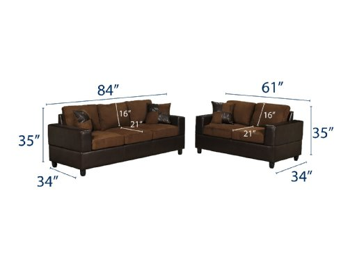Bobkona seattle microfiber sofa and loveseat 2 piece set in chocolate color home decoration shop Microfiber sofa and loveseat set