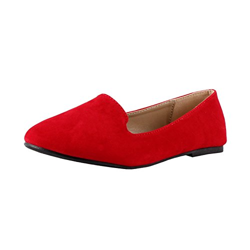 Forever Diana-81 Loafers Shoes, Red Suede, 8.5