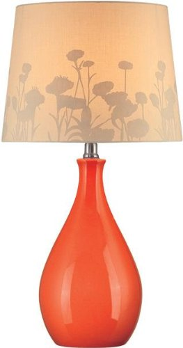 - Lite Source LS-21489ORN Table Lamp, Orange Ceramic with Silhouette Paper Shade