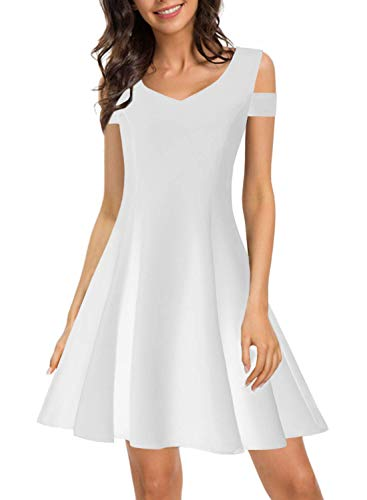 Juniors Little White Dress for Women Vintage Special Occasions Teens Elegant Chic Prom Summer A line Party Wedding Guest Travel Skater Dresses 168 (S, White) -