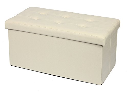Storage Ottoman Foldable Storage Bench Faux leather and Thickening Sponge for Livingroom 29 7/8' Beige