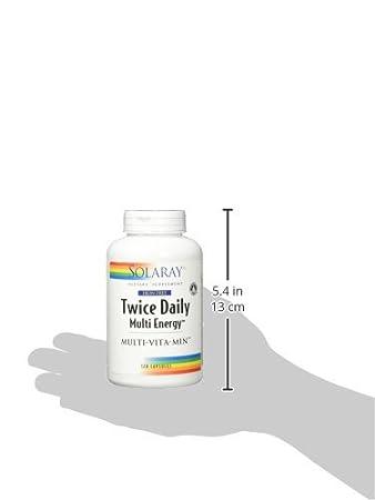 Twice Daily (Iron Free) Multi-Energy Multi-Vita-Min Solaray 120 Caps: Amazon.es: Salud y cuidado personal