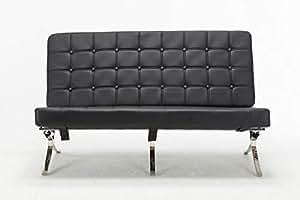 mcombo estilo clásico Barcelona Replica salón silla y otomana con Premium piel sintética y marco de acero inoxidable
