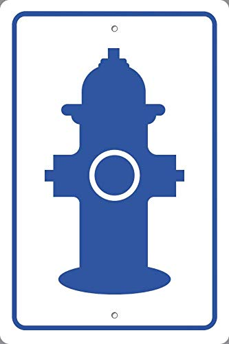 BuildASign Fire Hydrant Symbol Blue Safety Sign- 18