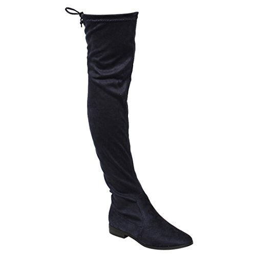 BESTON FM33 Women's Stretchy Snug Fit Thigh High Drawstring Block Heel Boots, Color:Navy, Size:9 by BESTON