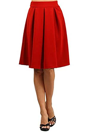 Modern Kiwi Emily Pleated Midi High Waisted Stretch Skirt Bright Red Small