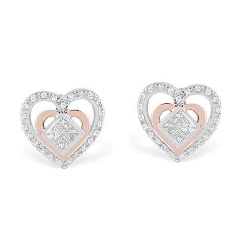 IGI Certified 925 Sterling Silver & 10K Rose Gold 1/4 Carat Round and Princess-Cut (H-I Color, I2 Clarity) Natural Diamond Earrings for Women ()