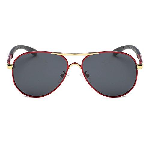 5 K0553 de Rojo Colores Polarizado amp;negro Retro metal Gafas kimorn Marco Hombre sol B8wvPqE