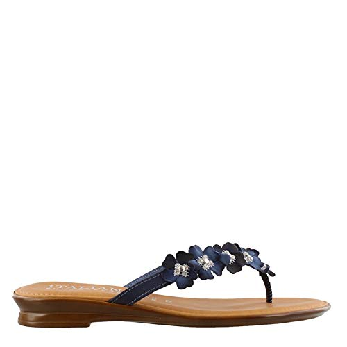 Blue Flower Flip Flops - ITALIAN Shoemakers Women's, Fluffy Thong Sandals Navy 6.5 M