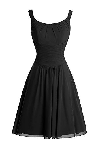 Dora Les Femmes De Mariée Et Aiguë; S Une Ligne De Bretelles Robe De Demoiselle D'honneur En Mousseline De Soie Noire 2016