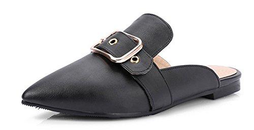 Aisun Women's Comfy New Buckle Strap Closed Toe Slip On Dress Slide Sandals Mules Shoes Black 4 B(M) US