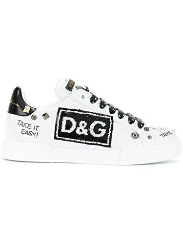 Dolce e Gabbana Women's Ck1558as42489697 White Leather Sneakers