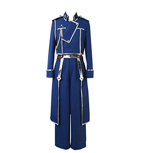 COSEASY Fullmetal Alchemist Colonel Roy Mustang Military Uniform Cosplay Costume Halloween Full Set Suit Blue -