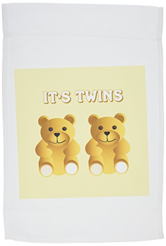 3dRose fl_165753_1 Its Twins Two Brown Teddy Bears Announce The Garden Flag, 12 by 18-Inch