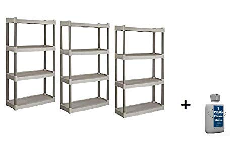 Plano Molding 4 Shelf Utility Shelving, (Tan, 3 Pack + Freebie) ()