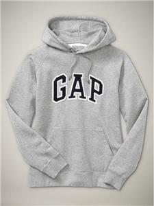 GAP Mens Fleece Arch Logo Pullover Hoodie (Gray, Large) - Gap Mens Sweater