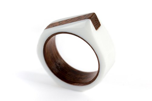 Men's corian and bentwood ring. Modern and industrial wengue wedding band. Water resistant and hypoallergenic. (02700_7N)