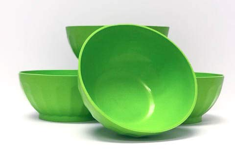 Mintra Unbreakable Plastic Bowl, GREEN 4pk - Large, 1.8L, 60oz, 7.75inW x 3.25inH - (Part Of A Set) - Salad, Snacks, Breakfast Cereal, Fruit, Popcorn, Soup, Colorful, Shatterproof, BPA Free
