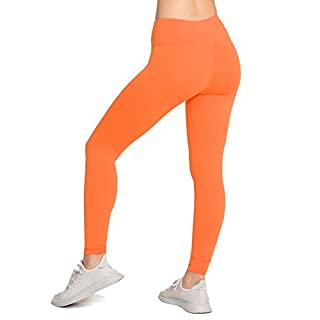LOVESOFT Womens High Waist Leggings, Ankle Length Solid Color, Soft and Strench, Basic Yoga Pants for Workout Casual Orange