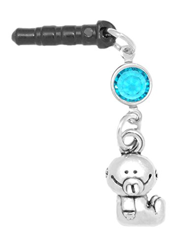 Clayvision Baby Girl or Boy Phone Charm Blue Zircon Colored Crystal December Black Plug