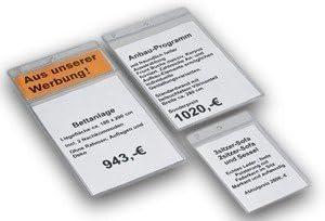 100x peha Preisschild Schutzh/ülle 1 Fach; f/ür A7 Preisschild
