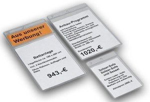100x Peha Preisschild Schutzhülle 1 Fach Für A6 Preisschild