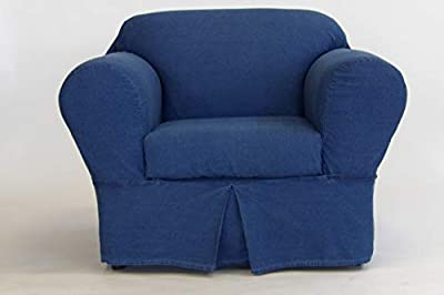 Classic Slipcovers 2 Piece Washed Denim Chair slipcover Blue