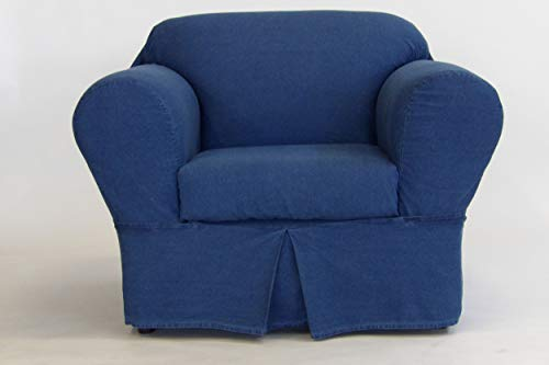 Classic Slipcovers 2 Piece Washed Denim Chair slipcover, Blue