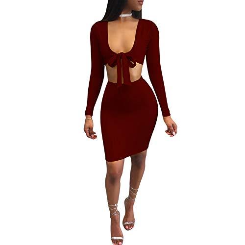 Mujer En De Vestido Dos Piezas V A Escote Vestido Profundo Sexy para Club con De Rojo Vestidoss XL 5w7xYBqn