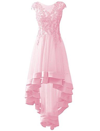 anno Basso Abiti di HUINI Tulle Perline formali Rosa festa Applique Sera Ballo Abiti Alto fine da OwXx0XC