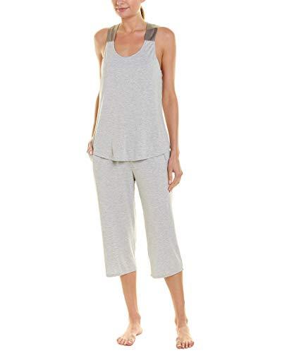 Fleur't Womens 2Pc Silk-Trim Pajama Crop Set, M/L Heather Grey