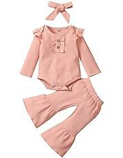 3PCS الرضع طفل الفتيان الفتيات الصلبة التجاعيد الأكمام رومبير+ سراويل سراويل سراويل+ عقال وتتسابق مجموعة (Color : Pink, Size : 18M)