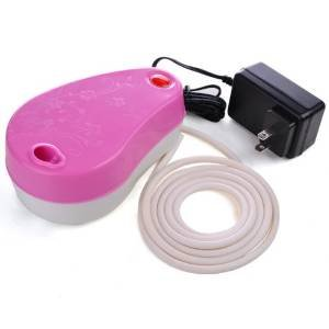 Portable Airbrush Pink Mini Air Compressor Automatic On Off Design w/ Built-in Holder for Professional Makeup Tattoo Hobby Crafts Illustration Commercial Arts