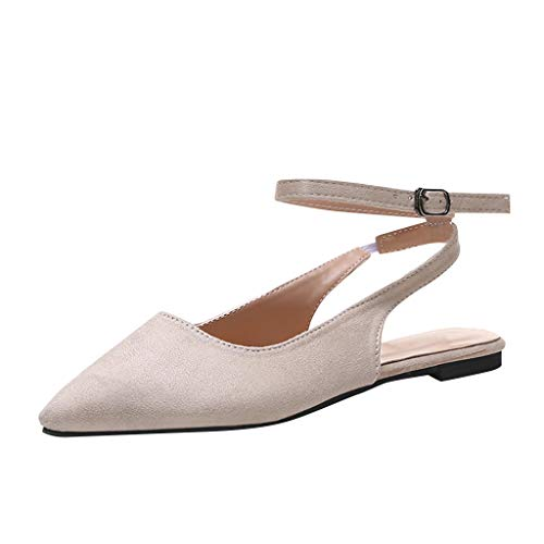 〓COOlCCI〓Women's Slingback Low Heel Pumps Shoes Pointed Toe Ankle Strap Block Heel Summer Pumps Sandals Single Beige