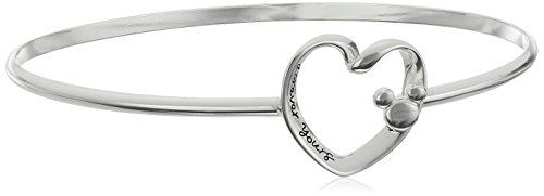 Disney Sterling Silver Forever Yours Heart with Mickey Mouse Bangle Bracelet