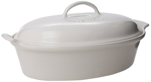 White Oval Covered Casserole (Le Creuset Stoneware 4-Quart Covered Oval Casserole, White)