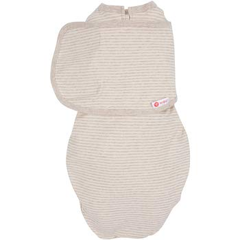 (embé 2-Way Organic Starter Swaddle Blanket, 5-14 lbs, Diaper Change w/o Unswaddling, Legs in and Out Design, Warm Up or Cool Down 100% Organic Cotton, 0-3 Months (Organic Oatmeal Stripe))