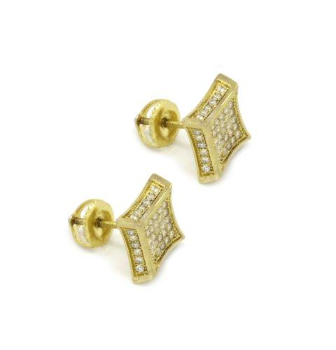 14k Gold Kite (14K Gold Plated 5 Rows Clear Cz Side Full Kite Stud Earrings Screw Backs CK5)