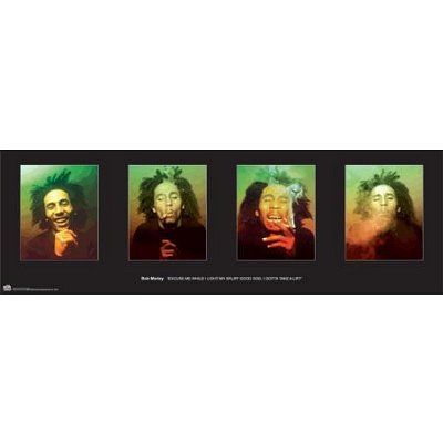 ((12x36) Bob Marley (4 Faces, Smoking, Color) Music Poster Print)
