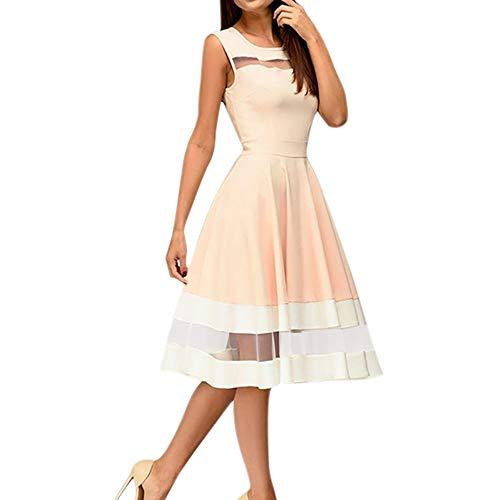 (iYBUIA Women Elegant Mesh Patchwork Knee-Length Sexy O-Neck Sleeveless Party Dress)