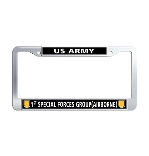 JiuznseateFrame 1st Special Forces Group (Airborne) License Plate Frame, US Army Waterproof Stainless Steel Metal License Plate Frame Holder with Screw Caps