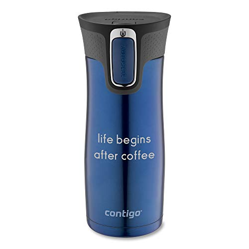 Personalized Contigo Blue West Loop Autoseal 16 Oz Stainless Steel Travel Mug, Mug with Engraving Included