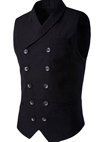 - ainr Men's Banded Collar Pocket Sleeveless Slim Fitted Gap Double-Breasted Suit Vest Black XS
