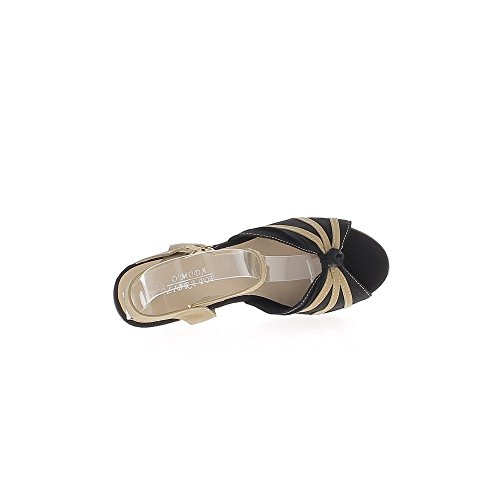 Espadrillas con zeppa donna cammello e nero tacchi tela cm 9