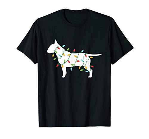 Christmas Lights Bull Terrier T Shirt Gifts for Dog Lovers (Light Bull Womens T-shirt)