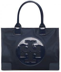 Tory Burch Beach Bag - Tory Burch Ella Nylon Tote Patent Leather Bag Handbag French Navy Blue